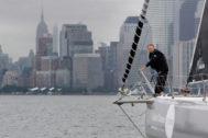 Swedish 16-year-old activist <HIT>Greta</HIT> Thunberg sails on the Malizia II racing yacht in New York Harbor