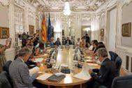 La reunión de la Junta de Síndics que se celebró ayer en las Cortes Valencianas.