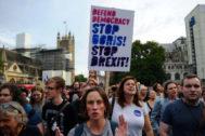 Protestas contra la suspensión del Parlamento, en Londres.
