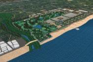 Imagen virtual del proyecto de urbanización Golf Sant Gregori en el litoral de Burriana.