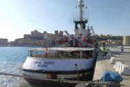 El Open Arms, el pasado día 21 en Porto Empedocle (Sicilia).