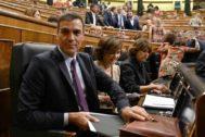 El presidente del Gobierno en funciones, Pedro Sánchez, este jueves en el Congreso de los Diputados.