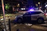 Un coche de la Guardia Civil tras la tormenta del pasado lunes en Arganda del Rey.