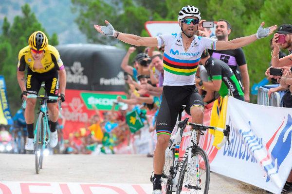 Team Movistar rider Spain&apos;s Alejandro <HIT>Valverde</HIT> (R) crosses...