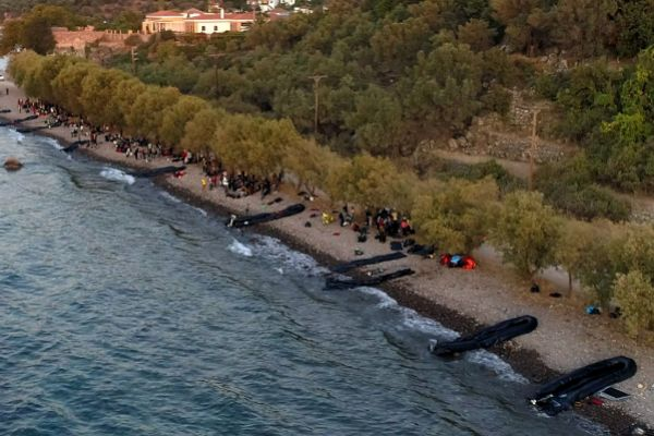 Skala Sikamias (Greece), 29/08/2019.- A picture taken by drone shows...