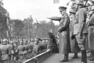 Warsaw (<HIT>Poland</HIT>), 05/10/1939.- A handout photo made available by National Digital Archive <HIT>Poland</HIT> shows Fuehrer of Germany Adolf Hitler (5-R) with German general Gunther von Kluge (4-R), general Maximilian von Weichs (3-R) and general Fedor von Bock (2-R) as they watch German troops parade at Aleje Ujazdowskie after capitulation of Warsaw in Warsaw, <HIT>Poland</HIT>, 05 October 1939 (issued 23 August 2019). September 2019 sees the 80th anniversary of the start of World War II in Europe with the German Wehrmacht invading <HIT>Poland</HIT>. Based of staged false and faked incidents to justify the attack, German troops on 01 September 1939 broke through border crossings and attacked the neighboring country's fortified Military Transit Depot on the Westerplatte peninsula in the Bay of Danzig with joint naval, army and air forces. The political and military events following resulted in a worldwide war from 1939 to 1945 that cost the lives of up to 85 million people, many of them unrecorded civilians, who died