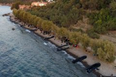 Skala Sikamias (Greece), 29/08/2019.- A picture taken by drone shows thirteen boats with migrants that arrived at Skala Sikamias, <HIT>Lesvos</HIT> Island, Greece, 29 August 2019 (issued 30 August 2019). A total of 547 people landed on the island, including 177 men, 124 women and 246 children. Of these, 193 were transferred to the Moria Reception and Identification Center and the rest remained at the UNHCR camp in Sykamia, the so-called 'stage 2' camp, with the prospect of being transferred to Moria for registration on 30 August. According to reports, two Coast Guard vessels are operating in the area. (Grecia) EPA/