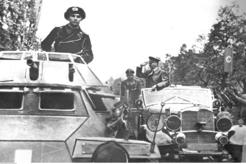 Warsaw (<HIT>Poland</HIT>), 05/10/1939.- A handout photo made available by National Digital Archive <HIT>Poland</HIT> shows Fuehrer of Germany Adolf Hitler (C) saluting as he arrives after capitulation of Warsaw in Warsaw, <HIT>Poland</HIT>, 05 October 1939 (issued 23 August 2019). September 2019 sees the 80th anniversary of the start of World War II in Europe with the German Wehrmacht invading <HIT>Poland</HIT>. Based of staged false and faked incidents to justify the attack, German troops on 01 September 1939 broke through border crossings and attacked the neighboring country's fortified Military Transit Depot on the Westerplatte peninsula in the Bay of Danzig with joint naval, army and air forces. The political and military events following resulted in a worldwide war from 1939 to 1945 that cost the lives of up to 85 million people, many of them unrecorded civilians, who died of diseases and starvation, in mass-bombings, massacres and the Nazi's deliberate genocide of the Holocaust victims and use of Nuclear weapons