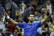 Novak Djokovic celebra su pase a octavos de final del Abierto de EEUU.