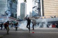 Manifestantes en el centro de Hong Kong.