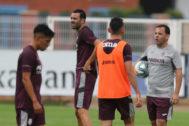 Javier Calleja, durante un entrenamiento del Villarreal.