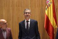 El gobernador del Banco de España, Pablo Hernández de Cos, durante una intervención en el Congreso.