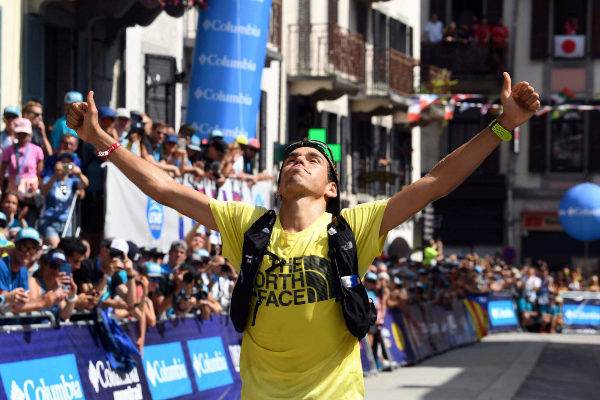 Spanish long-distance runner Pau <HIT>Capell</HIT> celebrates as he...
