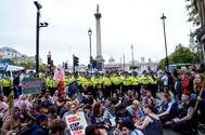 Manifestantes antiBrexit, en Trafalgar Square, en pleno centro de Londres.