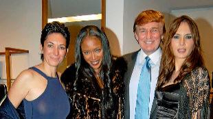 De izq a dcha Maxwell, Naomi Campbell, Donald Trump y Melania Knauss...