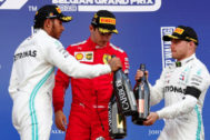 Belgian Grand Prix Formula One F1 - Belgian Grand Prix - Spa-Francorchamps, Stavelot, Belgium - September 1, 2019 Ferrari's Charles <HIT>Leclerc</HIT> celebrates on the podium after winning the race with second placed Mercedes' Lewis Hamilton and third placed Mercedes' Valtteri Bottas REUTERS/Francois Lenoir
