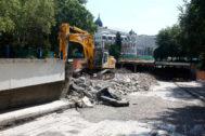 Obras en el túnel de Bailén por la remodelación de Plaza de España.
