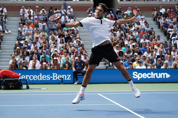 Roger <HIT>Federer</HIT> of Switzerland against David Goffin of...