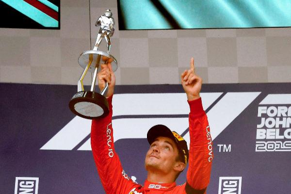 TOPSHOT - Winner Ferrari's Monegasque driver Charles...