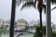 "This video grab image shows boats are tied up in preparation for the approach of Hurricane <HIT>Dorian</HIT> on September 1, 2019 in Sandyport, Nassau, Bahamas. - Hurricane <HIT>Dorian</HIT> unleashed ""catastrophic conditions"" Sunday as it hit the northern Bahamas, lashing the low-lying island chain with devastating 180 mph (285 kph) winds, the most intense in its modern history.Residents of the Abaco Islands closest to the storm were warned to ""seek elevated shelter immediately,"" as US forecasters predicted a towering storm surge of 18 to 23 feet. (Photo by Lucy WORBOYS / Lucy WORBOYS / AFP)"