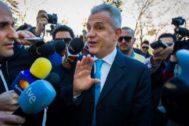 Javier Aguirre, a su entrada en la Ciudad de la Justicia de Valencia para prestar declaración en marzo de 2015.