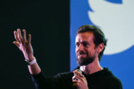 (FILES) In this file photo taken on November 12, 2018 Twitter CEO and co-founder <HIT>Jack</HIT> <HIT>Dorsey</HIT> gestures while interacting with students at the Indian Institute of Technology (IIT) in New Delhi on November 12, 2018. - A series of erratic and offensive messages appearing on the account of Twitter chief executive <HIT>Jack</HIT> <HIT>Dorsey</HIT> August 30, 2019 suggest his account had been hacked. The tweets containing racial slurs and suggestions about a bomb showed up around 2000 GMT on the @<HIT>jack</HIT> account of the founder of the short messaging service. The company did not immediately respond to an AFP query. (Photo by Prakash SINGH / AFP)