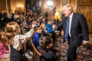 British PM <HIT>Boris</HIT> <HIT>Johnson</HIT> takes questions from children during education announcement inside Downing Street in London