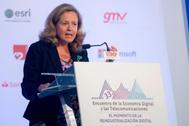 Nadia Calviño, ministra en funciones de Economía y Empresa, en el Encuentro de Economía Digital de Santander.