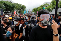 Students boycott their classes as they take part in a protest against the extradition bill at the Chinese University of <HIT>Hong</HIT> <HIT>Kong</HIT>