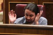 Pablo Iglesias, líder de Podemos, el pasado jueves en el Congreso.