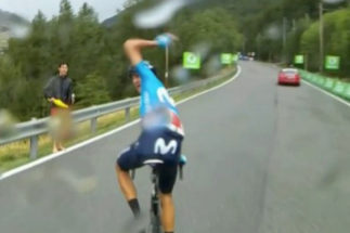 Instante en el que Soler, el domingo, protesta por esperar a Quintana.
