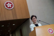 Hong Kong (China).- Hong Kong Chief Executive <HIT>Carrie</HIT> <HIT>Lam</HIT> attends a press conference at the government offices in Hong Kong, China, 03 September 2019. According to reports <HIT>Lam</HIT> has told a group of business leaders that she's sorry for the 'unforgivable havoc' caused by her attempts to pass the extradition bill, while admitting she had limited scope to resolve the crisis as Sino-US tensions increase. Hong Kong has been gripped by mass protests since June over a now-suspended extradition bill that have morphed into a wider anti-government movement. (Protestas) EPA/