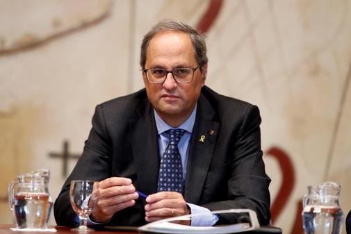 El presidente de la Generalitat, Quim Torra, durante la reunión...