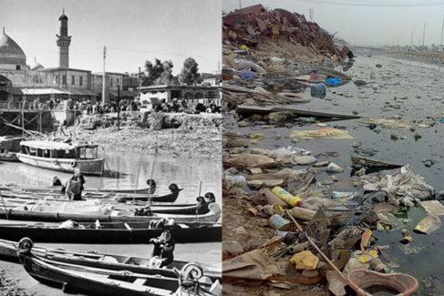 La ciudad iraquí, en una fotografía de 1950 (con góndolas) y otra de 2019.