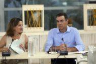 Pedro Sánchez, con Teresa Ribera en un acto celebrado en Madrid el pasado agosto con representantes ecologistas.