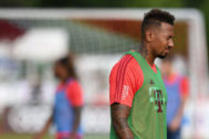 (FILES) In this file photo taken on August 06, 2019 Bayern Munich's defender Jerome <HIT>Boateng</HIT> attends the first session of the training camp in Rottach-Egern, southern Germany. - Bayern Munich and former German national team football star Jerome <HIT>Boateng</HIT>, 31, has been charged with assault after allegedly attacking his former partner, German prosecutors confirmed on September 3, 2019. (Photo by Christof STACHE / AFP)