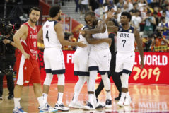 Basketball - FIBA World Cup - First Round - Group E - United States v Turkey Basketball - FIBA World Cup - First Round - Group E - United States v Turkey - Shanghai Oriental Sports Centre, Shanghai, China - September 3, 2019 Khris Middleton of the U.S. celebrates with teammates after the match REUTERS/Aly Song