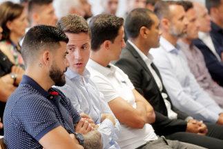 Los acusados, en la primera jornada del juicio del Levante-Zaragoza.