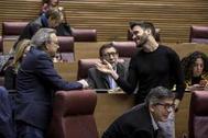El síndic del PSPV, Manolo Mata, conversa con el portavoz de Compromís, Fran Ferri, en las Cortes