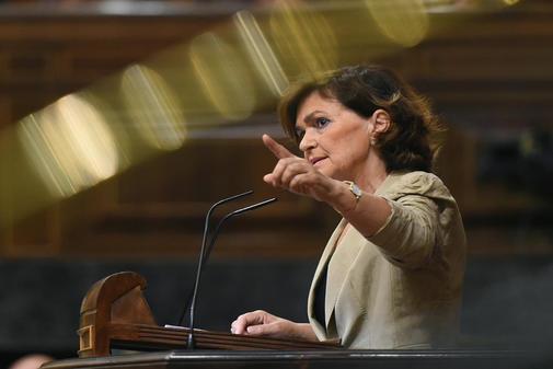 Carmen Calvo, la pasada semana en el Congreso durante el Pleno para...