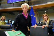 La candidata gala para presidie el BCE, Christine Lagarde, llega al Parlamento Europeo de Bruselas