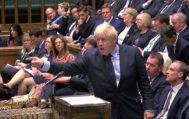 """<HIT>TOPSHOT</HIT> - A video grab from footage broadcast by the UK Parliament's Parliamentary Recording Unit (PRU) shows Britain's Prime Minister Boris Johnson gestures toward the opposition benches as he stands a the dispatch box and speaks in the House of Commons in <HIT>London</HIT> on September 3, 2019, as he gives a statement on the recent G7 meeting. - Prime Minister Boris Johnson was braced for a showdown with parliament on Tuesday over his Brexit plan that could spark a snap election and derail Britain's exit from the European Union next month. (Photo by - / various sources / AFP) / RESTRICTED TO EDITORIAL USE - MANDATORY CREDIT """" AFP PHOTO / PRU """" - NO USE FOR ENTERTAINMENT, SATIRICAL, MARKETING OR ADVERTISING CAMPAIGNS - EDITORS NOTE THE IMAGE HAS BEEN DIGITALLY ALTERED AT SOURCE TO OBSCURE VISIBLE DOCUMENTS"""