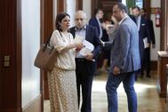 Los socialistas Adriana Lastra, Alfonso Rodríguez y Rafael Simancas, a su llegada a la reunión de la Junta de Portavoces.