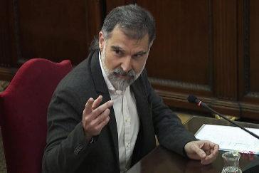 Jordi Cuixart, durenate su declaración como acusado en el juicio del 1-O en el Tribunal Supremo.