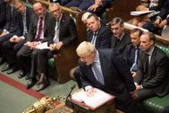 El primer ministro británico, Boris Johnson, en la sesión parlamentaria de esta tarde, en Londres.