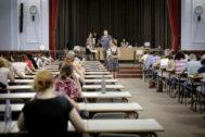 Primera prueba de oposiciones de docentes convocada, el pasado mes de junio, por Educación para cubrir  4.636 plazas en la Comunidad Valenciana,