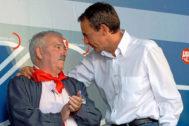 José Luis Rodríguez Zapatero, entonces presidente del Gobierno, y José Ángel Fdez. Villa, en una fiesta en León en 2009.
