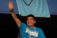 Diego Armando Maradona durante el Mundial de Rusia 2018.
