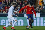 Morata en el partido de la Selección española frente a Holanda para la Euro 2020