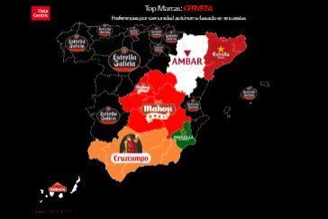 Mapa con las marcas favoritas en función de cada comunidad